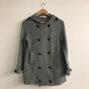 Zara TRF Sweater Pea Coat Grey